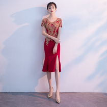 Summer red slim thin fishtail toast clothing