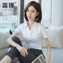 Womens shirt waist v-neck top White shirt 2021 summer thin professional tooling Formal work clothes short sleeves