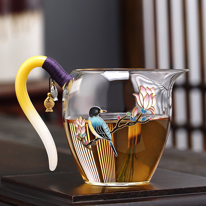 Jing also pure hand-made Jingtai blue glass fairway cup high-grade thickening high temperature tea splitter pour tea cup Japanese-style ideas