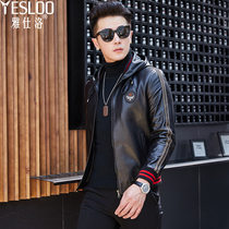 2019 New Haining Leather Mens hooded slim jacket mens young Korean version of the handsome motorcycle leather jacket