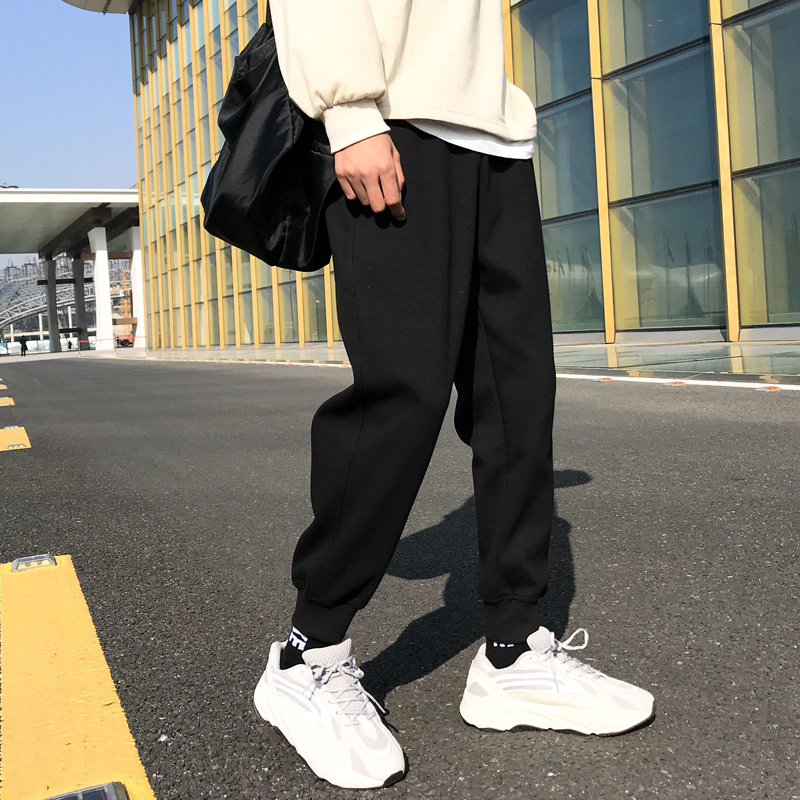Autumn and winter pants men's Korean version of the trend of loose leggings pants autumn sports pants plus cashmere trousers all-match casual pants trousers