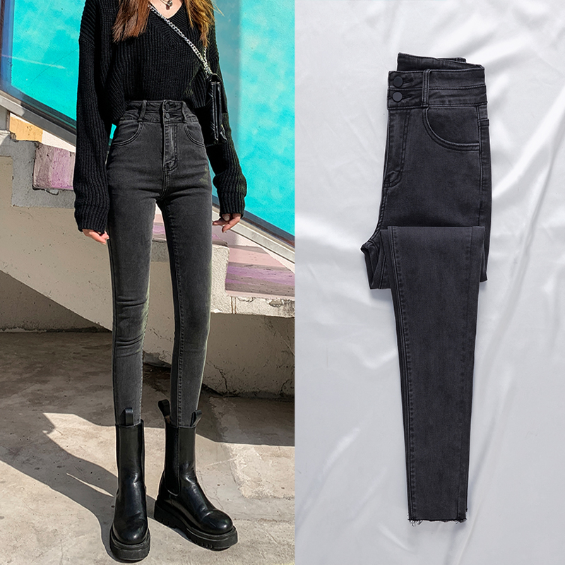 High-waisted jeans womens autumn winter 2020 new winter black tight feet plus velvet thin pants to the belly