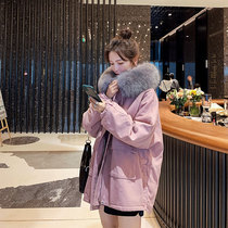 Pink pie overcomes the trend of womens short oversize plush plush 2020 new mid-range cotton jackets