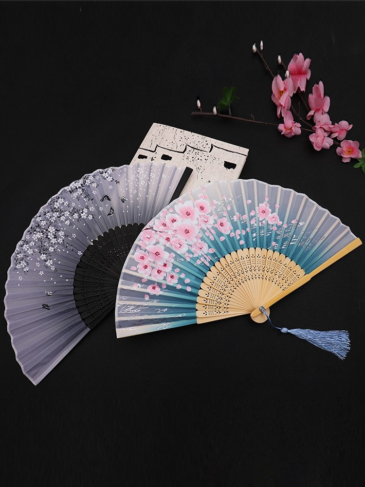 Fan Folding Fan Chinese Style Ancient Style Women's Summer Folding Ancient Chinese Dresses Ancient Chinese Dresses Classical tasseled Bamboo Fan