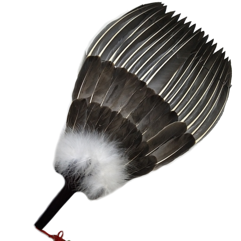 Goose feather fan Kong Ming fan Zhuge Liang feather fan Three-layer feather fan Craft fan Gift fan Bagua fan Chinese fan