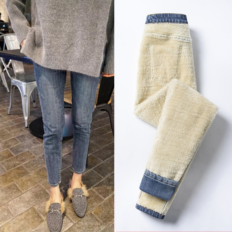Thick plush jeans womens high-waisted winter 2020 new models wear thin elastic tight feet to keep warm pants