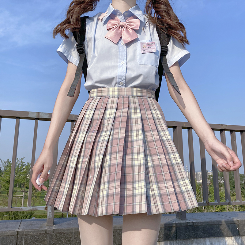 (Heart earthquake)Haruhi Sakurana spot grid skirt JK original Japanese JK pleated skirt student skirt