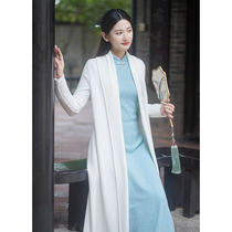 Early cicada autumn and winter Chinese style coat female Chinese style improvement Tang suit white long Zen tea suit cheongsam outside