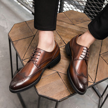 Business dress casual leather shoes men's British style genuine leather Korean Edition trend summer breathable block carved shoes