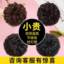 Real hair meatballs Hair circle wig headdress Female hair bag Fake bud head flower roll hair circle dish Hair artifact Fluffy lazy man