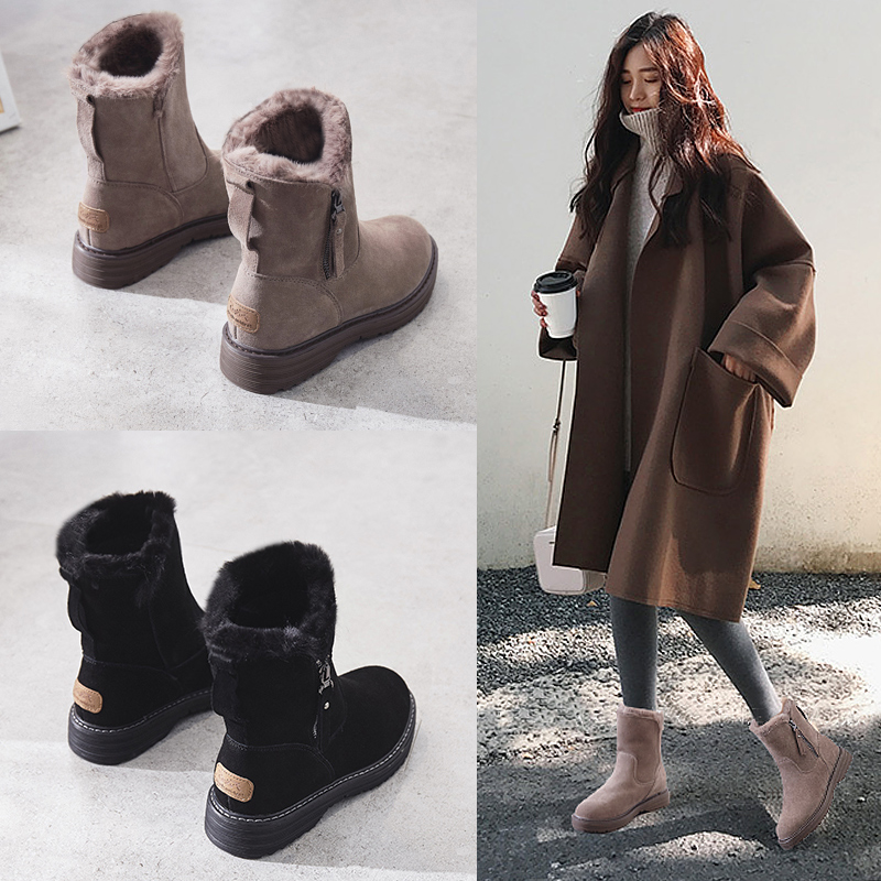 Leather snow boots women's fur Martin boots women 2020 new autumn and winter thick ankle boots plus velvet cotton shoes