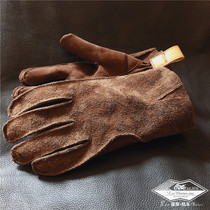 Bear claw matte head layer calfskin leather outdoor tooling riding sports warm Old Vintage Flip gloves