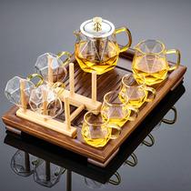 Glass tea set Household Kung Fu tea pot Teacup Japanese small tea making supplies Office meeting high-end