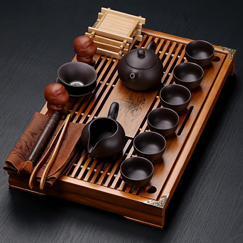 Purple sand ceramic kung fu tea set home tea cup simple office solid wood small tea plate drawer-style tea table set