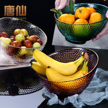 Tang Xian net red glass fruit plate home Nordic wind modern creative coffee table transparent fruit plate fruit basket snack plate B