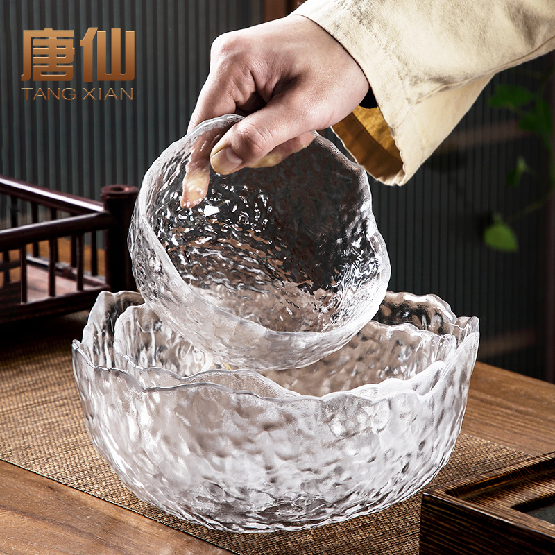 Tang Xian hammer-printed glass tea wash home with water tea cup tea ceremony accessories transparent simple teacum vessel container