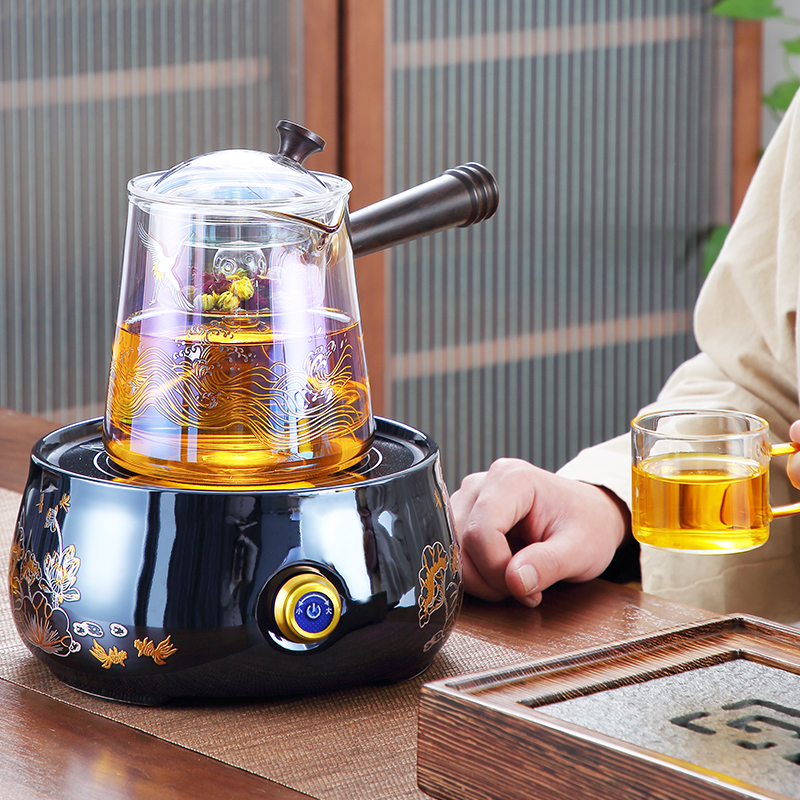 Be colored burning glass brewing teapot electric pottery stove tea set brewing tea stove small tea maker special tea maker steaming teapot
