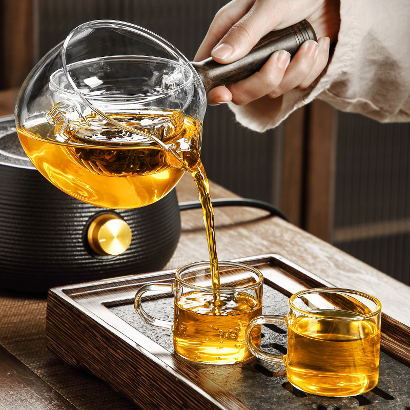 Mount Fuji rotating flowing cup brewing teapot full glass small green citrus special tea separator filter brewing tea cup