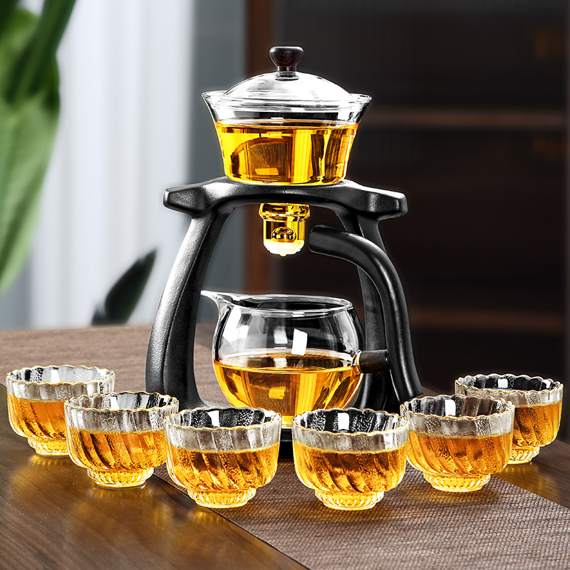 Tea set home tea cup high-end automatic when running lazy Govinhuang Mountain Palace lamp glass tea-making artifacts