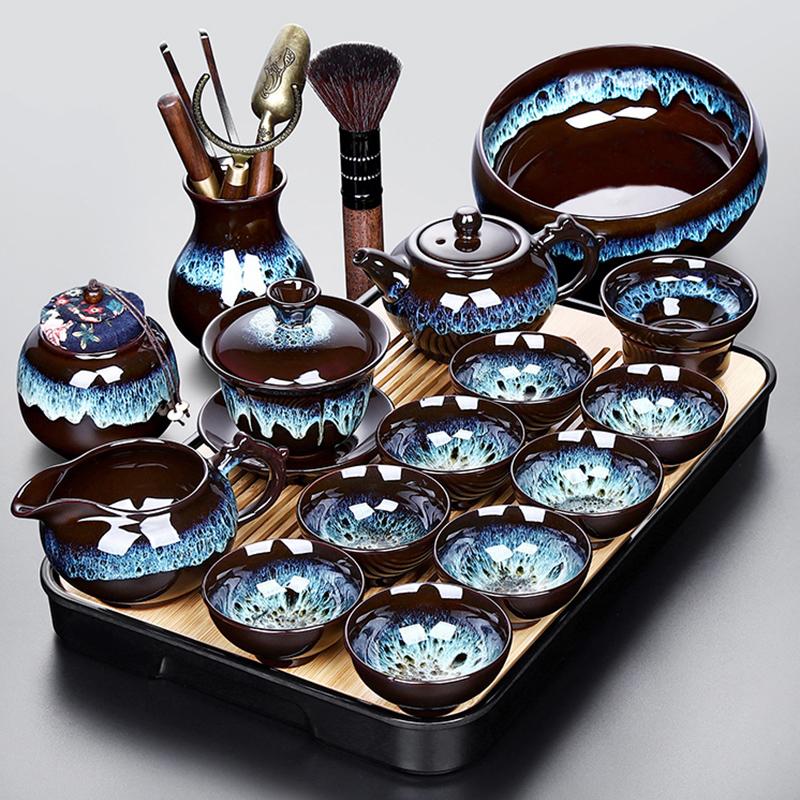 Kiln to build a kung fu tea set small set of tea set home simple office guests complete set of tea plate tea-making equipment