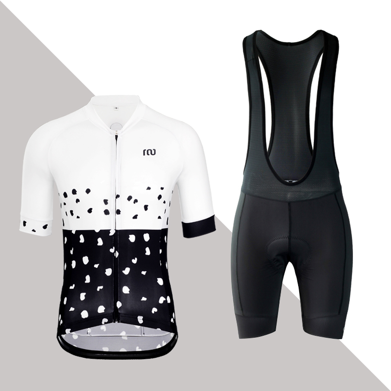 KIAE Summer Short-sleeved Top and Belt Trousers in Black-and-White Spotted Highway Mountain Bicycle Cycling Suit