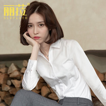 V neck white shirt women long sleeve 2021 Spring and Autumn new professional overalls white shirt dress overalls autumn
