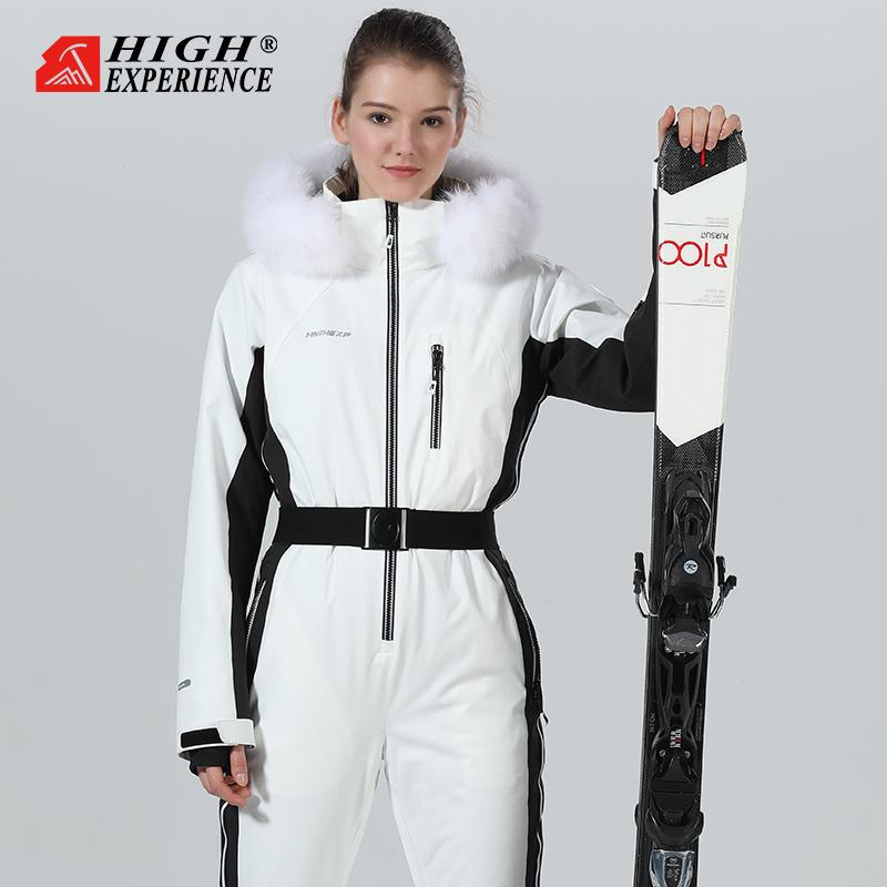 Outdoor womens jumpsuit single-ski double-ski slim plus velvet ski suit white pink snow equipment