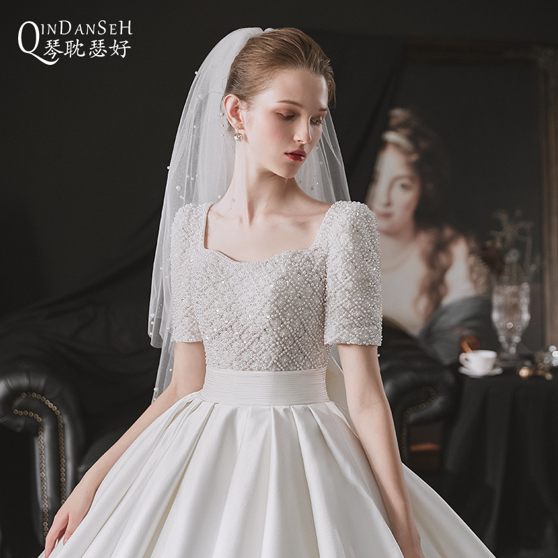 Satin wedding dress 202021 new bride temperament big tail out of the star sky small man at large princess welcome