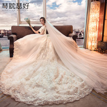 One word shoulder Korean style show thin simple long tail pregnant woman wedding dress