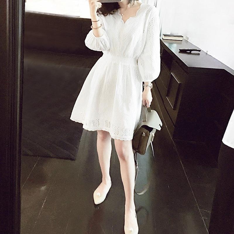 SANDRO moscoloni2021 small fresh dress two-piece set summer V-neck cotton wool hollow little white skirt girl