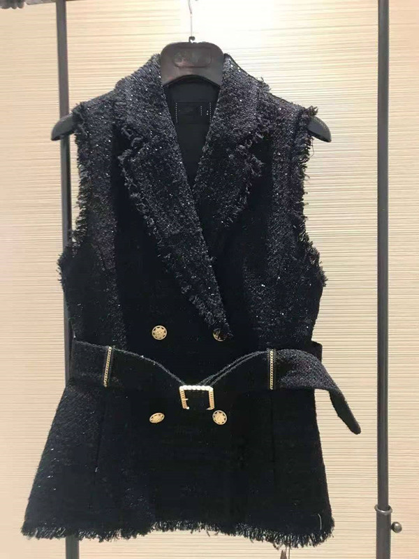 Brother Xinte 20020 autumn winter waist suit collar coarse flowers small fragrance sleeveless outer vest womens coat 1400482