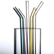 高硼硅玻璃彩色饮料吸管耐高温玻璃吸管健康无铅硅胶吸管