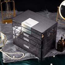 Jewelry box High-grade multi-layer luxury ring earrings Wedding large capacity hand jewelry watch pack storage box Gift