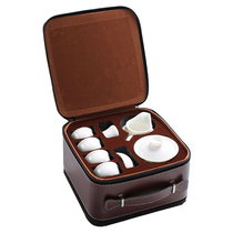 White porcelain travel tea set home tour cover bowl Japanese kung fu small simple carry-on bag outdoor simple mini.