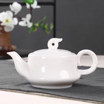 Dehua white porcelain teapot sheep fat jade ceramic single pot jade porcelain tea maker kung fu tea set large filter household single