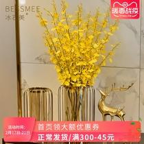 Américain vase En Verre Ornements Lumière De luxe vent simulation fleurs séchées salon table TV cabinet moderne Accueil doux décorations