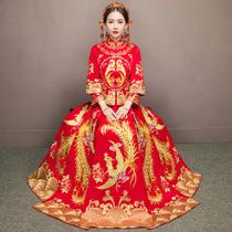 Xiu wo clothing bridal gown wedding dress 2017 new toast Dragon coat wedding chinese dress show Kimono cheongsam