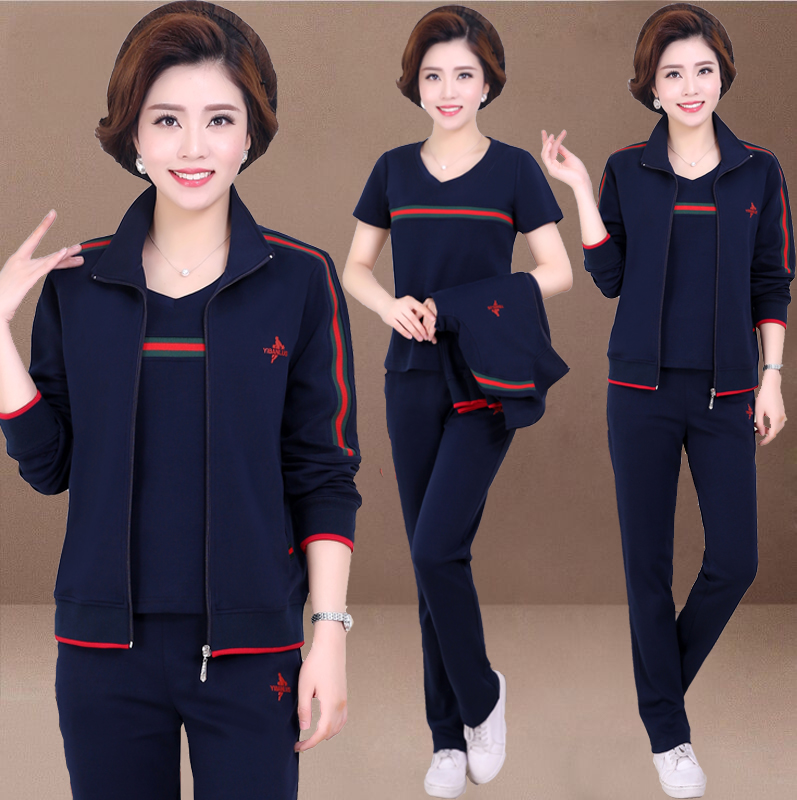 Middle-aged and elderly womens spring and autumn jacket 2021 new casual sportswear set medium-aged size top mother spring dress
