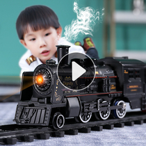 Simulation high speed rail parking lot childrens electric small train set track vintage steam train model toy boy