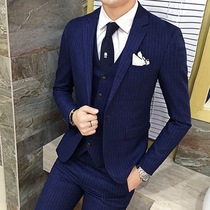 Suit mens suits the groom wedding groomsmen mission dress suit mens three piece set youth career business