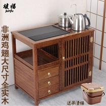 Tea cabinet Kettle One-piece tea table Tea cart Household chicken wings Solid wood tea table Tea side cabinet Vertical mobile tea cabinet
