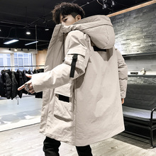 Down jacket men's long and medium-sized style in 2019 new pop winter Korean version trend thickening handsome men's jacket trend