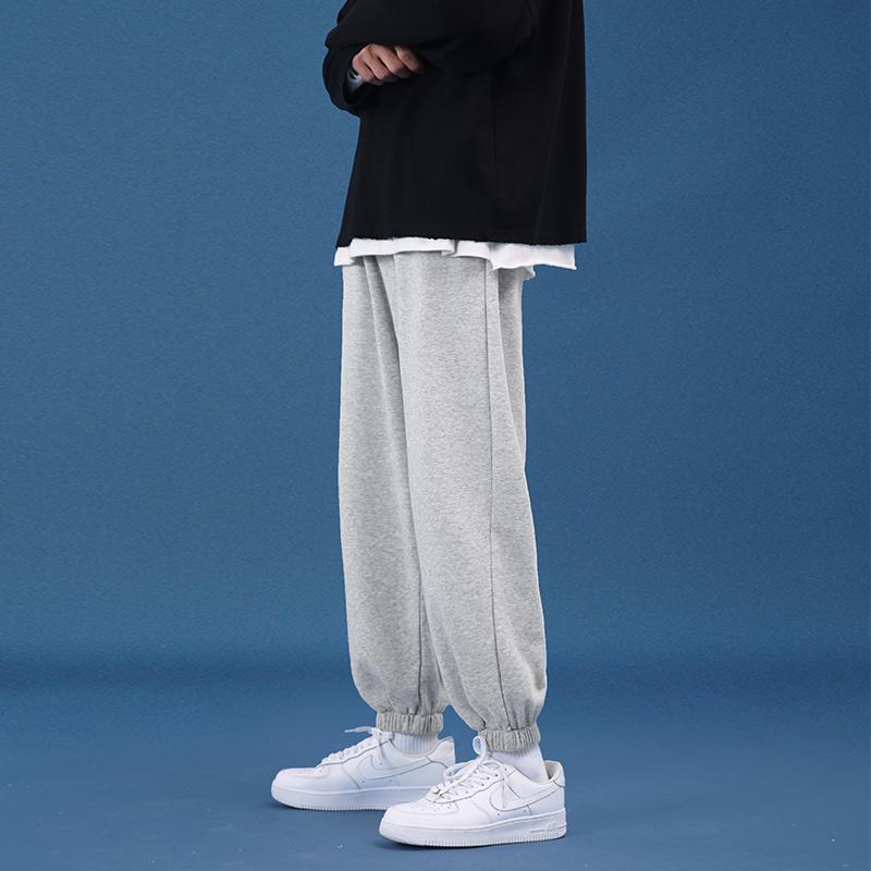 Mens pants autumn winter Korean version of the trend hundred plus-velvet casual sweatpants spring loose-fitting leggings gray leggings men