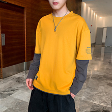 Long-sleeved T-shirt Men's Autumn 2019 New Korean Edition Fashion Top Dress, Bottom Shirt, Tide Brand Leisure Sanitary Clothing Men's Autumn Dress