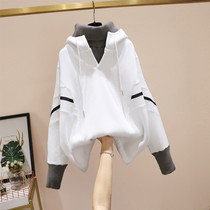 Large size Korean version of the hooded sweatshirt womens long-sleeved top 2020 new autumn winter dress fat sister loose-fitting thin coat