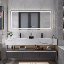 Smart bathroom 巖 board combination of modern light luxury wind double-slot washbasin washbasin washbasin washbasin