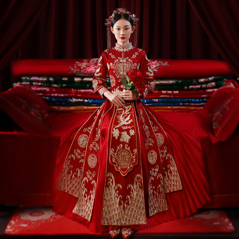 Showwear 2020 new bride winter wedding dress toast Chinese wedding dress show and uniform