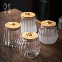 Love transparent glass tea tank creative bamboo lid sealed storage tank thickened miscellaneous grain candy cans flower tea cans home