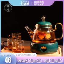 Hanxiang tea set Light luxury fruit tea cup set Afternoon tea tea set Candle heating teapot Insulation teapot