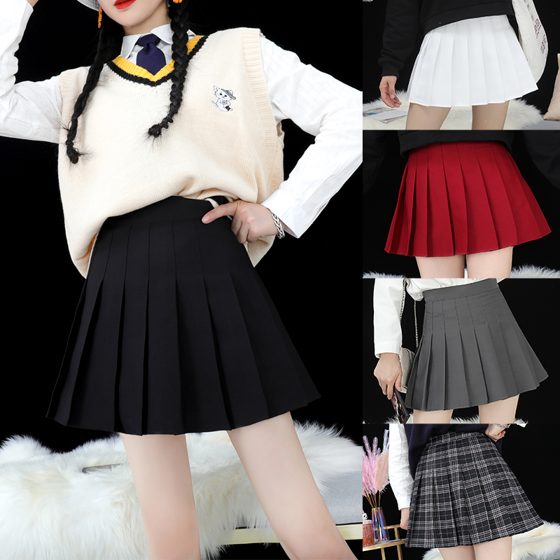 Pleated skirt Womens summer black high-waisted short skirt a-line skirt large size white gray small spring and autumn plaid skirt